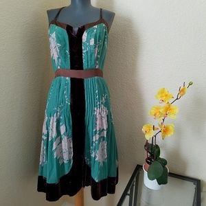 Anthropologie Harkham Silk Blend Velvet Trim Dress